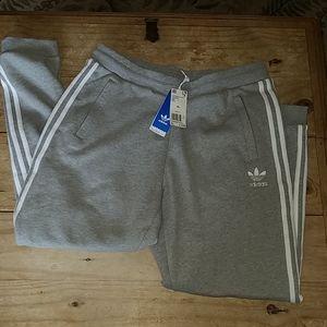 Adidas 3 stripes sweatpants XL gray & white NWTS
